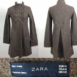 Zara 100% Wool Coat Jacket Peacoat Double Breasted